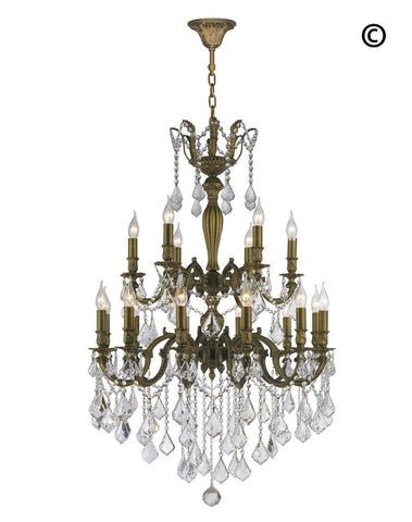 AMERICANA 18 Light Crystal Chandelier - Antique Bronze Style - Designer Chandelier