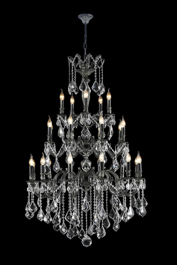 AMERICANA 25 Light Crystal Chandelier - Antique SILVER - Designer Chandelier