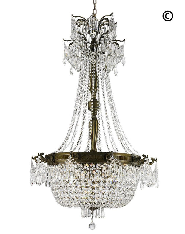Regency Basket Chandelier -  Antique Bronze Style - W:75cm H:125cm - Designer Chandelier