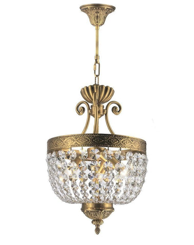 Florence Basket Chandelier -  Solid Brass Finish - W:30cm H:46cm - Designer Chandelier