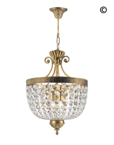Florence Basket Chandelier -  Solid Brass Finish- W:40cm H:50cm - Designer Chandelier