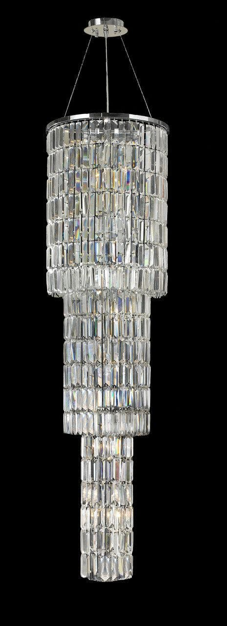 Modena Entrance Crystal Pendant Light - 3 Tier Round - W:40cm H:160cm - Designer Chandelier
