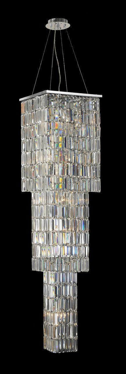 Modena Entrance Crystal Pendant Light - 3 Tier Square - W:40cm H:160cm - Designer Chandelier