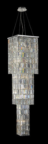 Modena Entrance Crystal Pendant Light - 3 Tier Square - W:40cm H:160cm