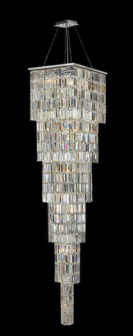 Modena Entrance Crystal Pendant Light - Large 6 Tier Square - W:40 H:220cm