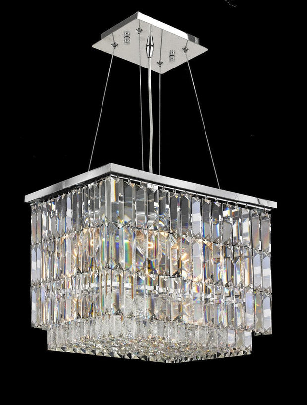 Modena Crystal Pendant - Rectangle Multi Tier W: 40cm - Designer Chandelier