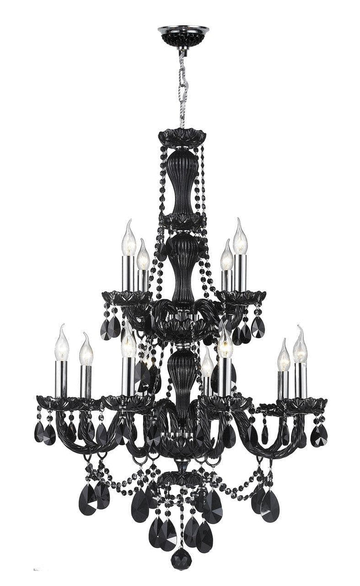 Jet Black Bohemian Chandelier - 12 ARM - Designer Chandelier