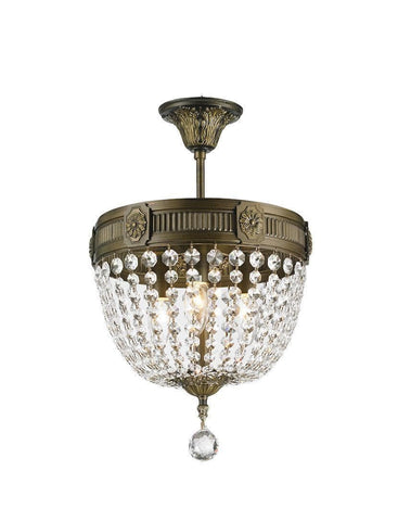 Regency Basket Chandelier -  Antique Bronze Style - Flush Mount - W:30cm H:43cm - Designer Chandelier