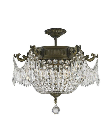 Regency Basket Chandelier -  Antique Brass Style - Flush Mount - W:46cm H:43cm