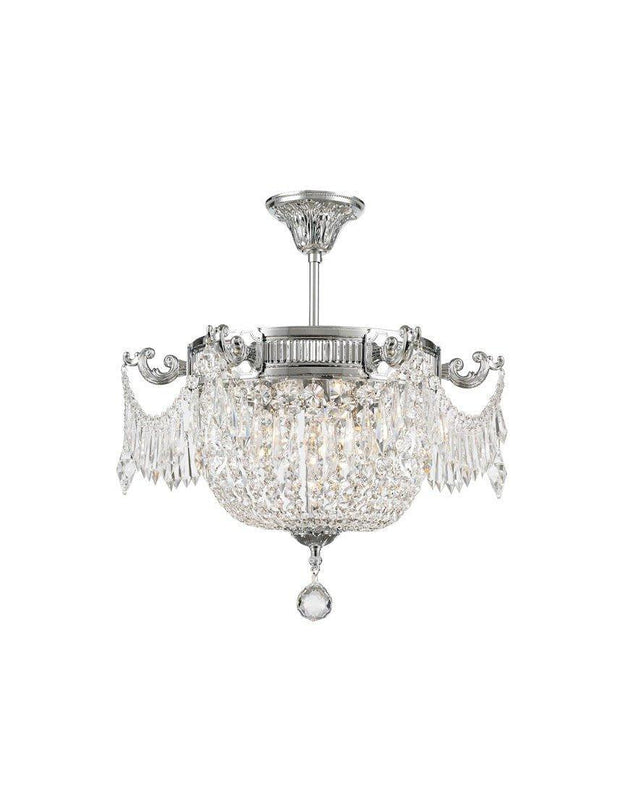 Regency Basket Chandelier -  Chrome Finish - Flush Mount - W:46cm H:43cm - Designer Chandelier
