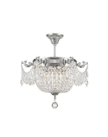 Regency Basket Chandelier -  Chrome Finish - Flush Mount - W:46cm H:43cm