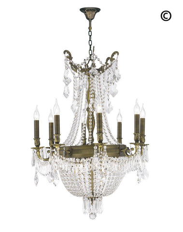 Regency Basket Chandelier -  Antique Brass Style - W:66cm H:94cm