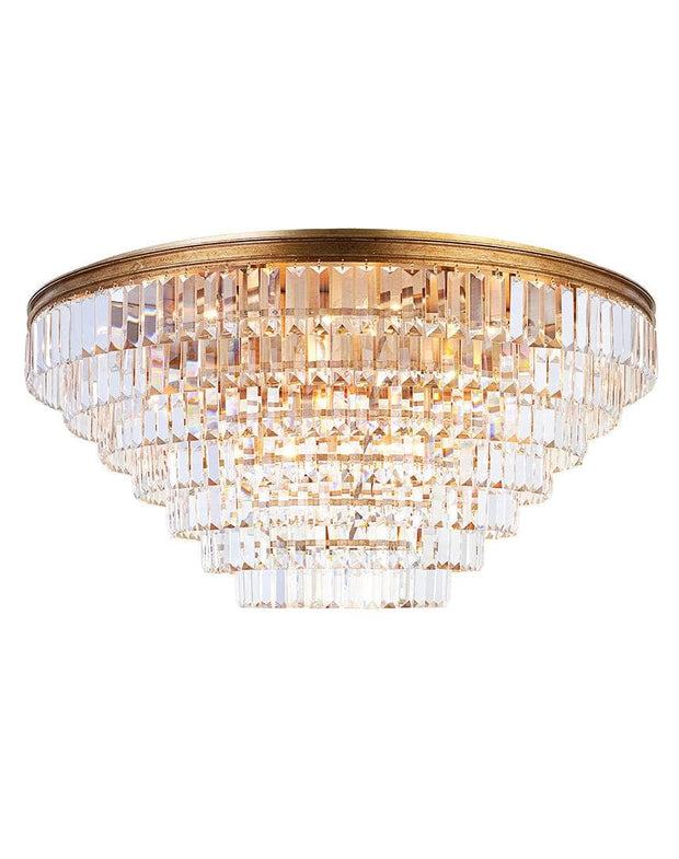 Jordan Collection - Flush Mount Chandelier - 90cm - Antique Gold