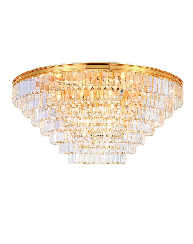 Jordan Collection - Flush Mount Chandelier - 90cm - Gold Plated