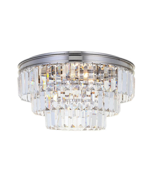 Jordan Collection - Flush Mount Chandelier - 40cm - Nickel Plated