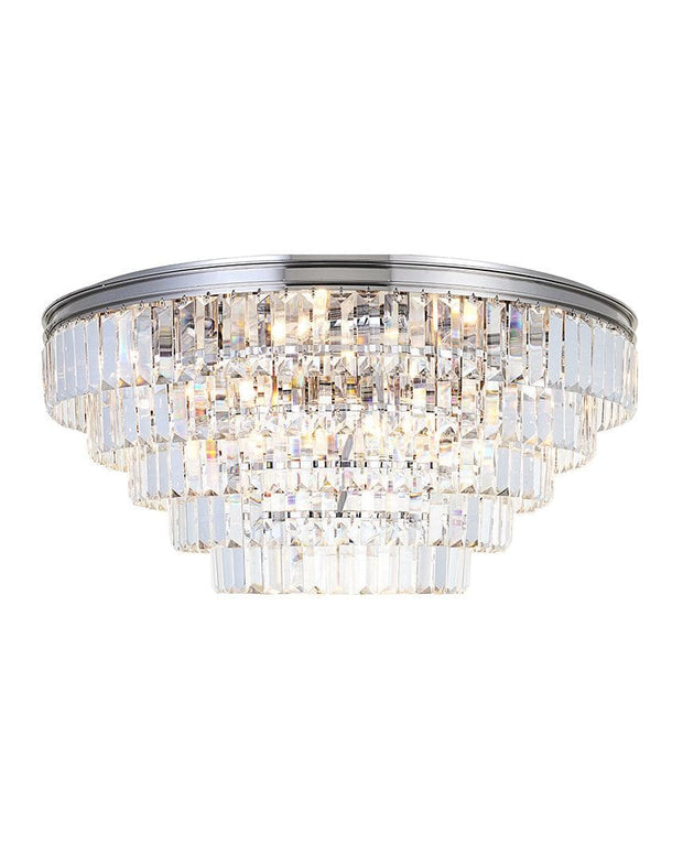 Jordan Collection - Flush Mount Chandelier - 70cm - Nickel Plated