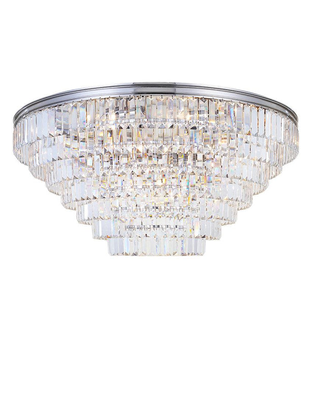 Jordan Collection - Flush Mount Chandelier - 90cm - Nickel Plated