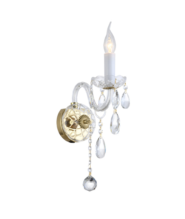 Bohemian Elegance Single Arm Wall Light Sconce- Brass Fixtures (to match Prague series)