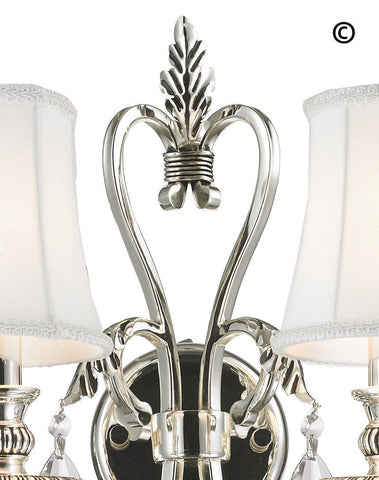 ARIA - Hampton Double Arm Wall Sconce - Silver Plated - Designer Chandelier  ARIA - Hampton Double Arm Wall Sconce - Silver Plated - Designer Chandelier