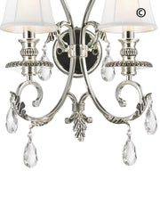 ARIA - Hampton Double Arm Wall Sconce - Silver Plated - Designer Chandelier