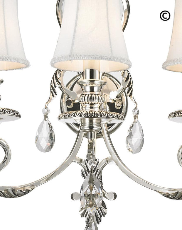 ARIA - Hampton Triple Arm Wall Sconce - Silver Plated - Designer Chandelier