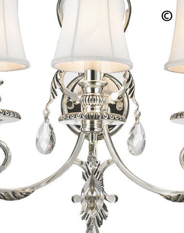 ARIA - Hampton Triple Arm Wall Sconce - Silver Plated - Designer Chandelier  ARIA - Hampton Triple Arm Wall Sconce - Silver Plated - Designer Chandelier