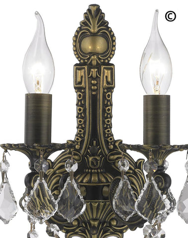 AMERICANA 2 Light Wall Sconce - Edwardian - Antique Bronze Style - Designer Chandelier  AMERICANA 2 Light Wall Sconce - Edwardian - Antique Bronze Style - Designer Chandelier