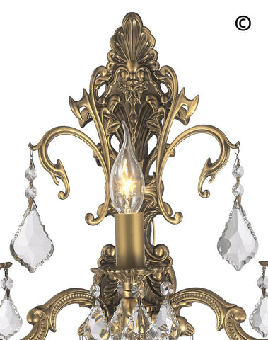AMERICANA 3 Light Wall Sconce - Brass Finish AMERICANA 3 Light Wall Sconce - Brass Finish - Designer Chandelier