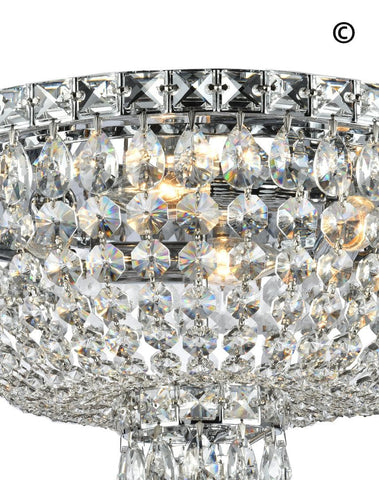 NewYork Empress - Flush Mount Basket Chandelier - Chrome - W:40cm - Designer Chandelier  NewYork Empress - Flush Mount Basket Chandelier - Chrome - W:40cm - Designer Chandelier