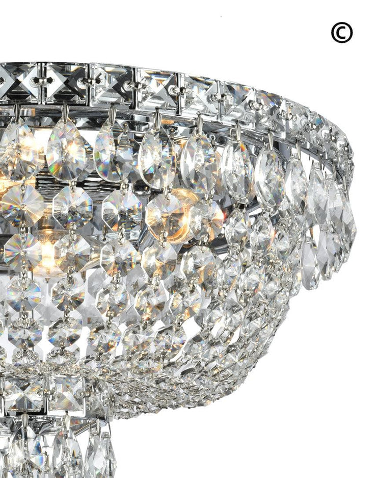 NewYork Empress - Flush Mount Basket Chandelier - Chrome - W:40cm - Designer Chandelier