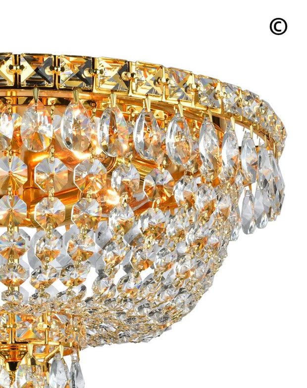 NewYork Empress - Flush Mount Basket Chandelier - Gold - W:40cm - Designer Chandelier