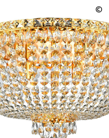 NewYork Empress - Flush Mount Basket Chandelier - Gold - W:60cm - Designer Chandelier  NewYork Empress - Flush Mount Basket Chandelier - Gold - W:60cm - Designer Chandelier