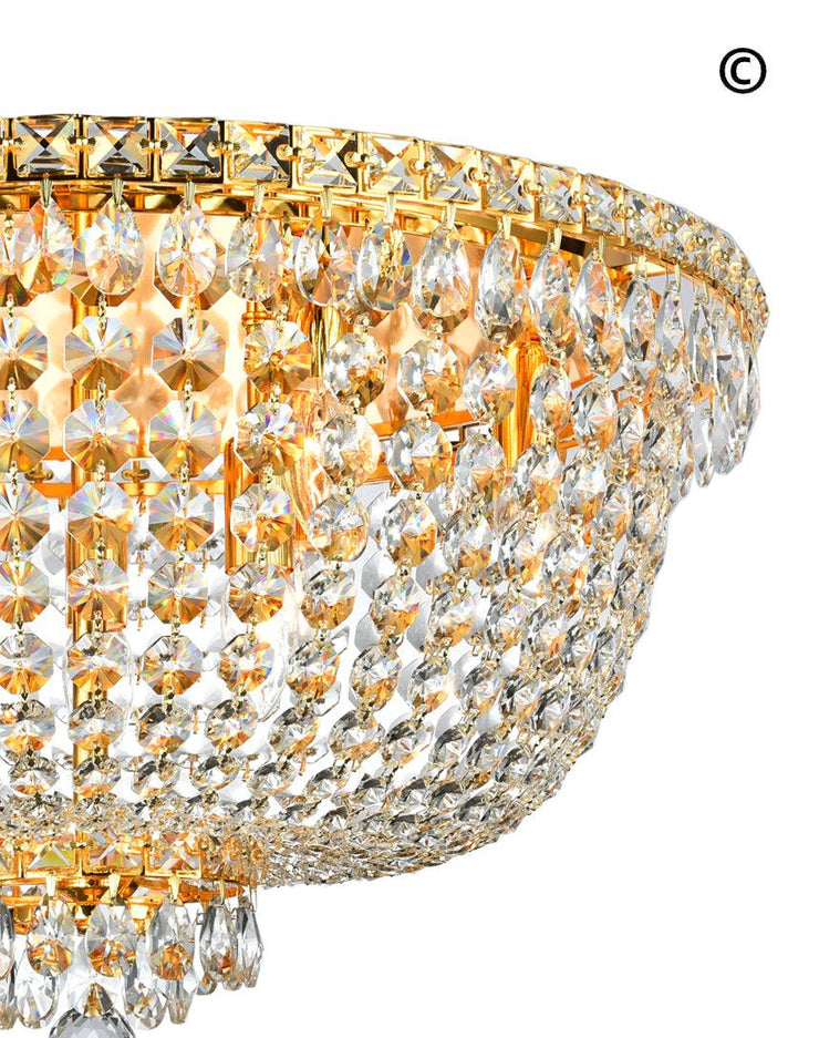 NewYork Empress - Flush Mount Basket Chandelier - Gold - W:60cm - Designer Chandelier