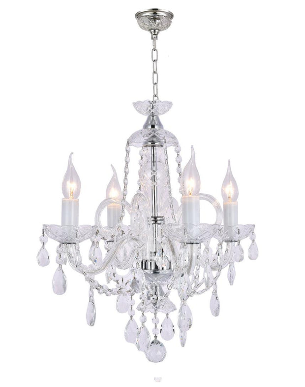 Bohemian Prague 4 Arm Crystal Chandelier - Chrome Fixtures - Designer Chandelier