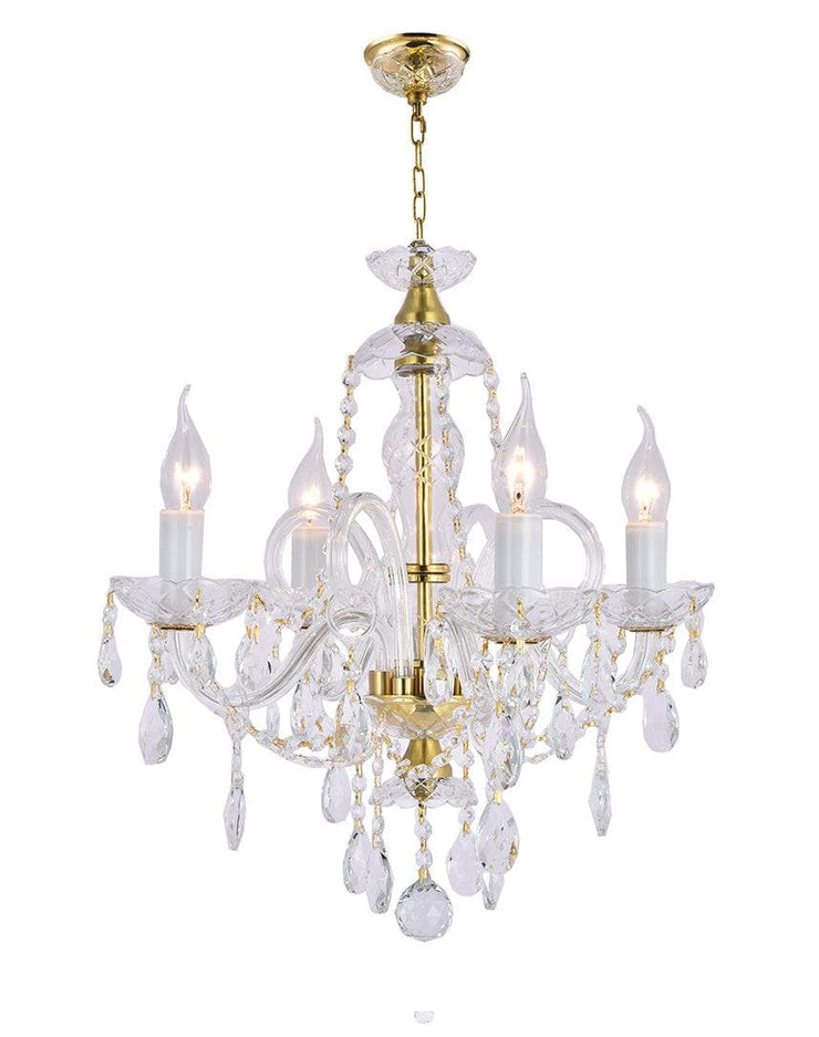 Bohemian Prague 4 Arm Crystal Chandelier - Brass Fixtures - Designer Chandelier