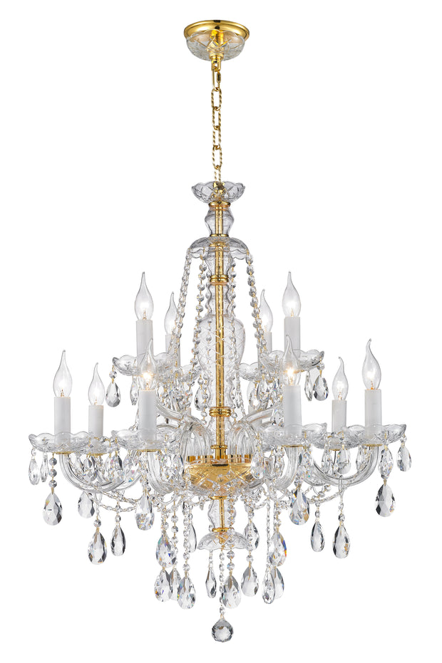 Bohemian Brilliance 12 Arm Crystal Chandelier- GOLD - Designer Chandelier