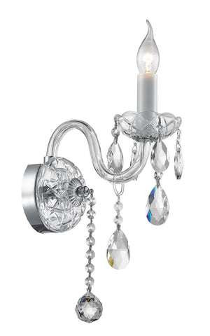 Bohemian Elegance Single Arm Wall Light Sconce- CHROME - Designer Chandelier  Bohemian Elegance Single Arm Wall Light Sconce- CHROME - Designer Chandelier