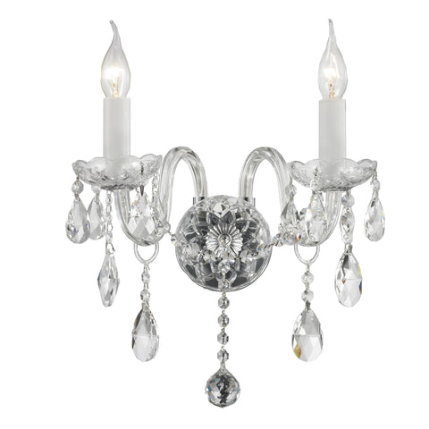 Bohemian Elegance Double Arm Wall Light Sconce - CHROME - Designer Chandelier  Bohemian Elegance Double Arm Wall Light Sconce - CHROME - Designer Chandelier