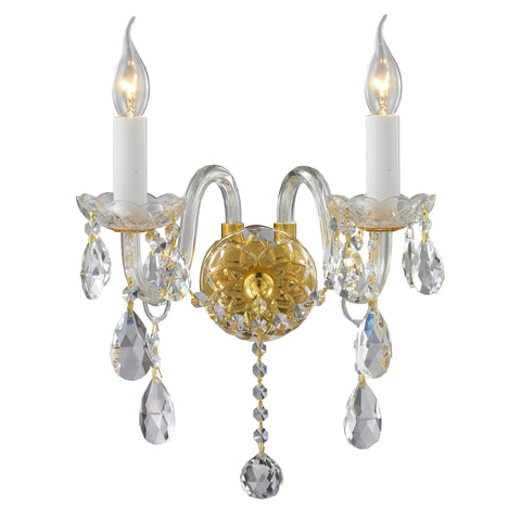 Bohemian Elegance Double Arm Wall Light Sconce - GOLD - Designer Chandelier  Bohemian Elegance Double Arm Wall Light Sconce - GOLD - Designer Chandelier