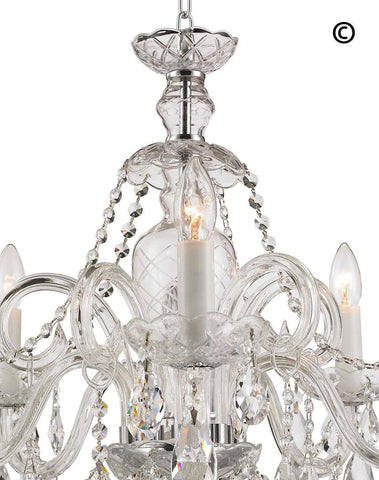 Bohemian Prague 5 Arm Crystal Chandelier - Chrome Fixtures Bohemian Prague 5 Arm Crystal Chandelier - Chrome Fixtures - Designer Chandelier