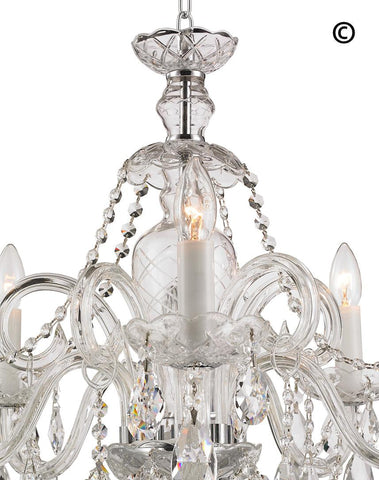 Bohemian Prague 5 Arm Crystal Chandelier - Chrome Fixtures - Designer Chandelier  Bohemian Prague 5 Arm Crystal Chandelier - Chrome Fixtures - Designer Chandelier