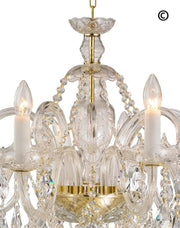 Bohemian Prague 8 Arm Crystal Chandelier - Brass Fixtures - Designer Chandelier