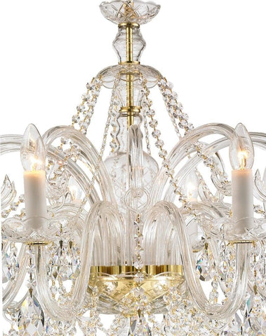 Bohemian Prague 10 Arm Crystal Chandelier - Brass Fixtures Bohemian Prague 10 Arm Crystal Chandelier - Brass Fixtures - Designer Chandelier