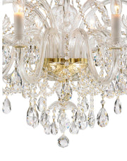 Bohemian Prague 10 Arm Crystal Chandelier - Brass Fixtures - Designer Chandelier