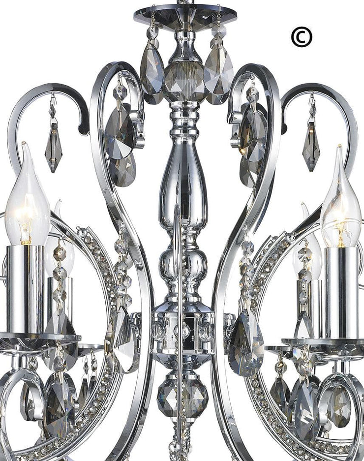 NewYork Princess 6 Arm Chandelier - SMOKE - W:62 - Designer Chandelier