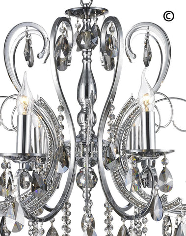 NewYork Princess 8 Arm Chandelier - SMOKE -  W:70 - Designer Chandelier  NewYork Princess 8 Arm Chandelier - SMOKE -  W:70 - Designer Chandelier