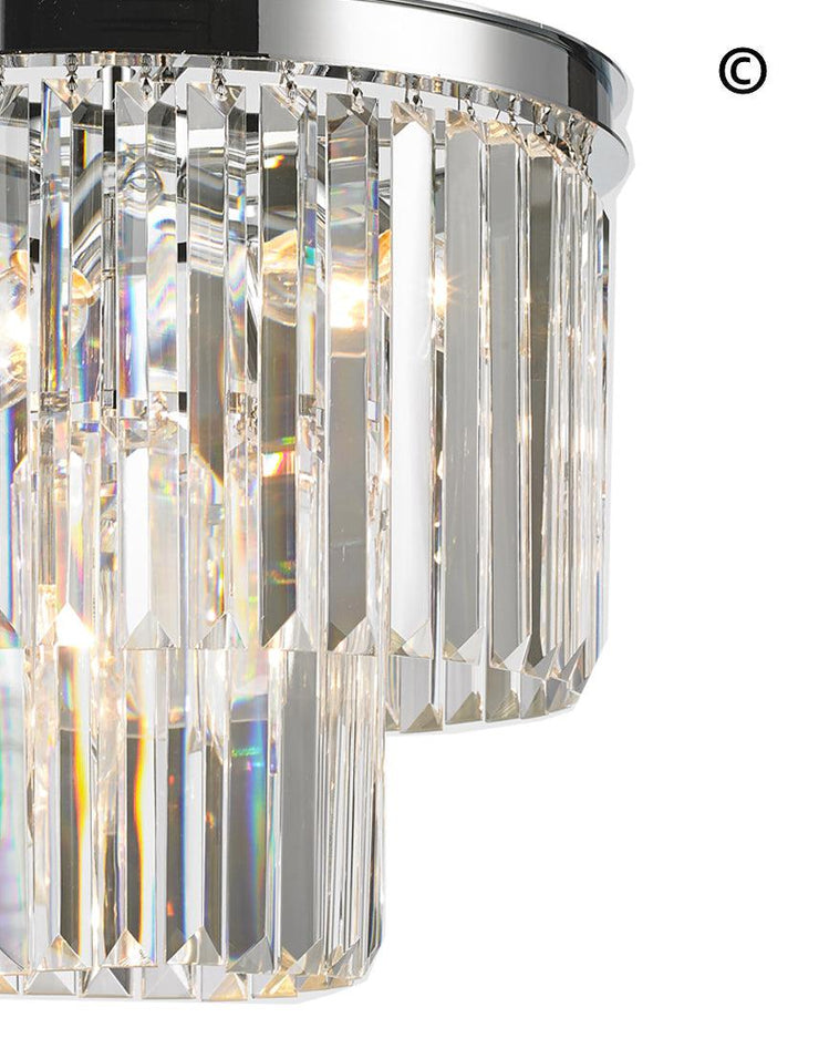NewYork Oasis Chandelier- 2 Layer - Clear Finish - W:40cm - Designer Chandelier