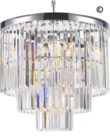 NewYork Oasis Chandelier- 3 Layer - Clear Finish - W:50cm Odeon Chandelier- 3 Layer - Clear Finish - W:50cm