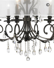 ARIA - Hampton 6 Arm Chandelier - Dark Bronze - Orb Outer Shade - Designer Chandelier