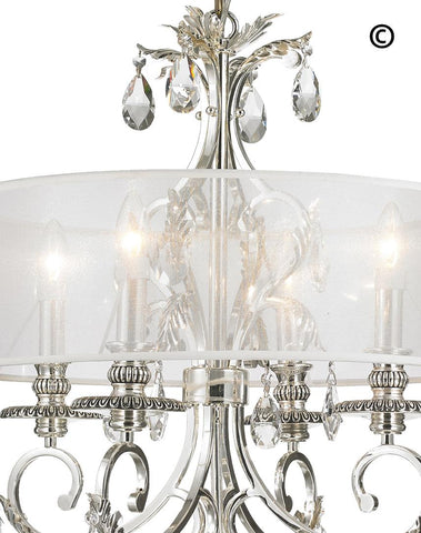 ARIA - Hampton 4 Arm Chandelier - Silver Plated - Orb Outer Shade ARIA - Hampton 4 Arm Chandelier - Silver Plated - Designer Chandelier
